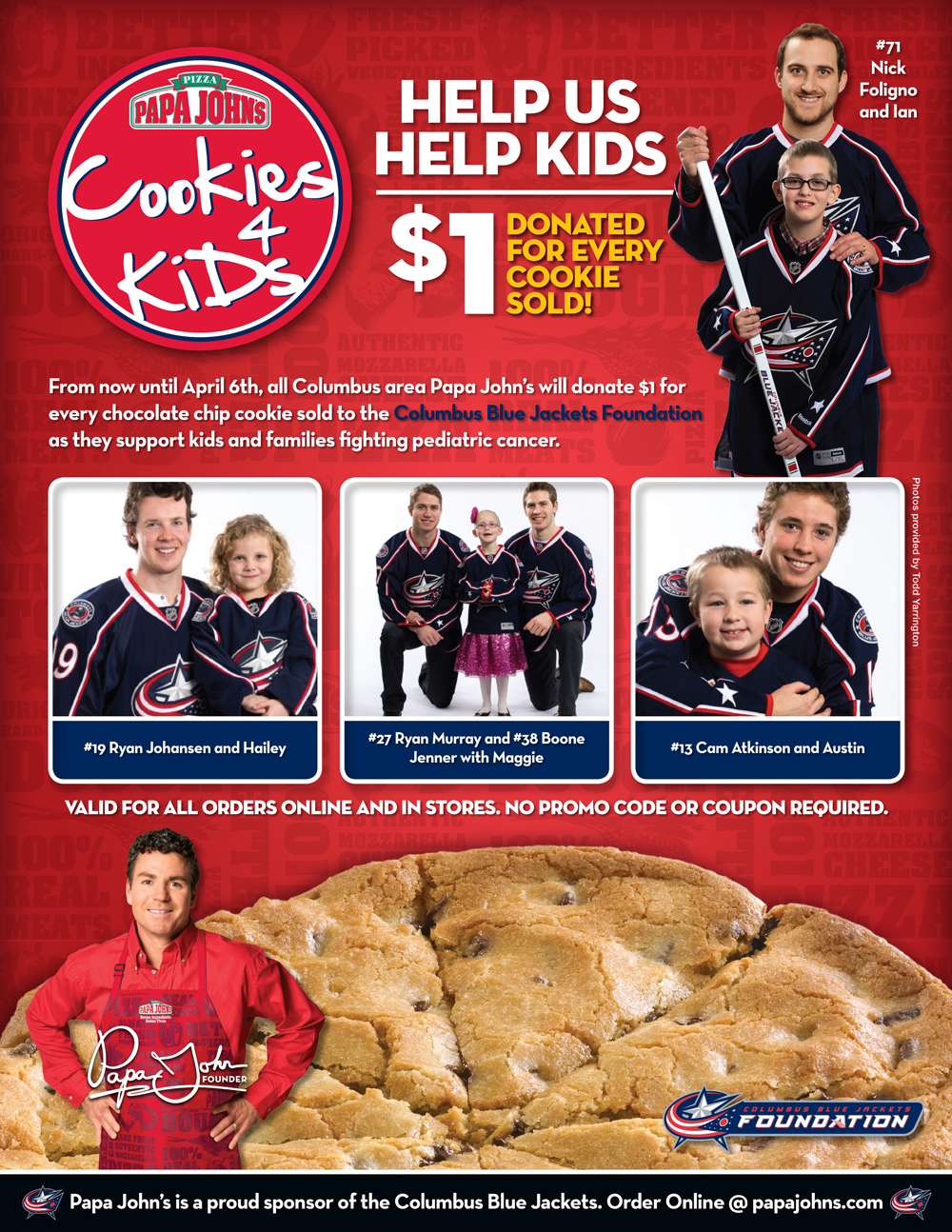 "Papa John's Pizza, Columbus Blue Jackets Announce ""Cookies For ..."